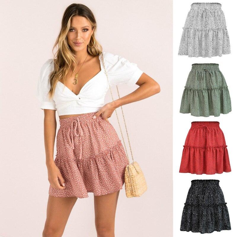 2021 Summer Woman Skirts Harajuku Tall Waist Chiffon Printing Pleating Wave Point Skirts Womens Retro Style
