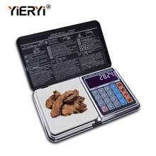 Yieryi 6 em 1 escalas digitais da multi-função eletrônico 100g/200g/300g/500g/1000g equilíbrio de peso com design da calculadora da palma
