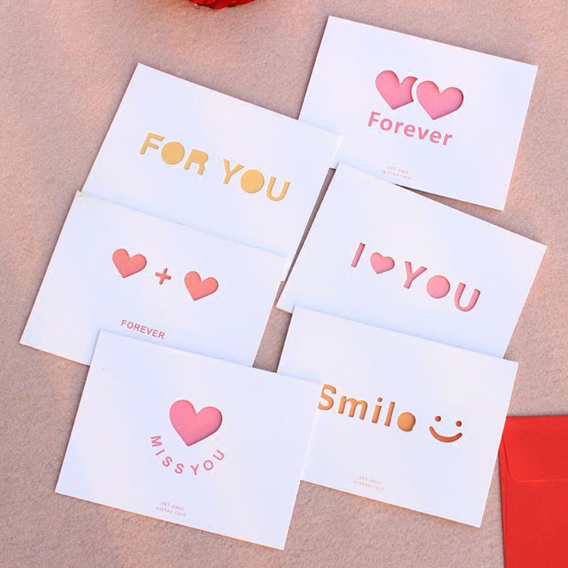 1 Pcs Cute Hollow Love Word Heart Paper Greeting Cards Postcards Envelopes Wedding Thanks Birthday Christmas Gifts Stationery
