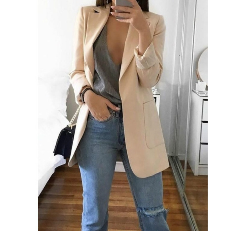Trench Fashion Women Open Stitch Autumn Turn-Down Collar Blends Coats Pure Office Elegant Overcoat Cardigan 5XL Plus Size GV085