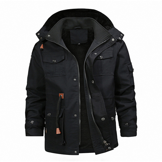 Multi Pocket Cargo Bomber Jassen Mannen Winter Warme Hoody Jacket Mens Fleece Hip Hop Windjack Jassen Mannelijke Militaire Tactische Jas