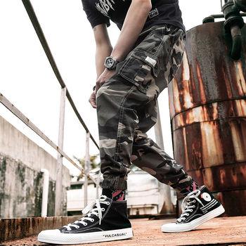 Camouflage Cargo Pants Men Streetwear Hip hop Joggers Pocket Casual Sport Sweatpants Tactics Ankle Length Trousers tanie i dobre opinie Mieszkanie Poliester spandex Kieszenie Luźne HL334 Midweight Suknem Kostki długości spodnie Elastyczny pas