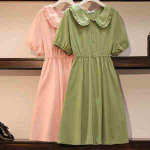 5XL 6XL 2020 vestido de verano de talla grande de algodón para mujeres vestido sólido para chicas dulce peter pan collar de manga corta midi vestido rosa verde JC122