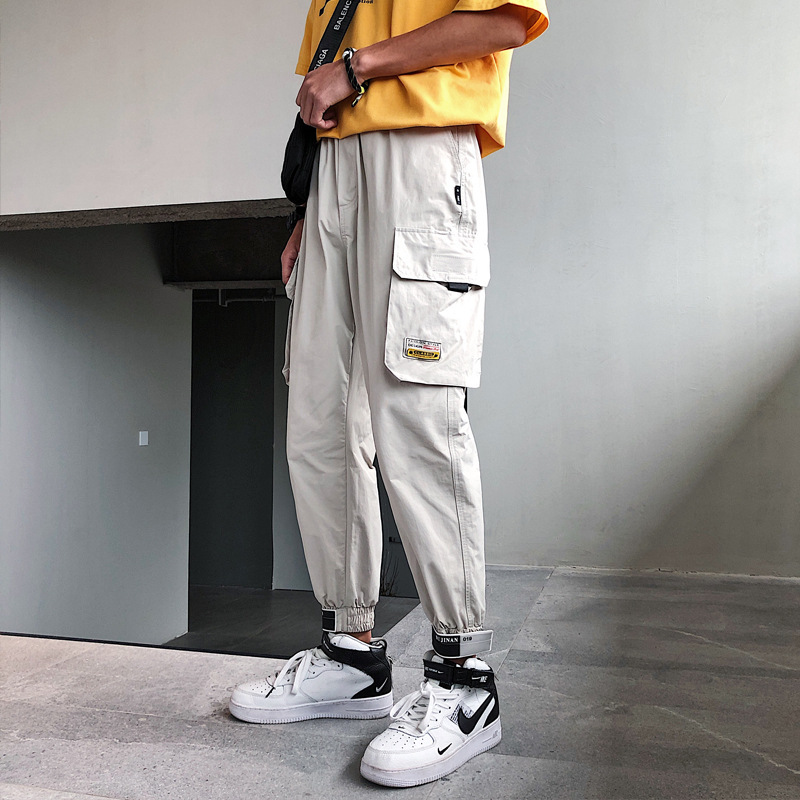 2019 Men Multi-pocket Elastic Waist Design Harem Pant Street Patchwork Pocket Hip Hop Casual Trousers Joggers Male Army Pants
