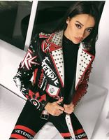 RED color faux leather coat Women Print pu Leather Jacket Turn down collar Punk Rock Cropped Jackets faux leather coat