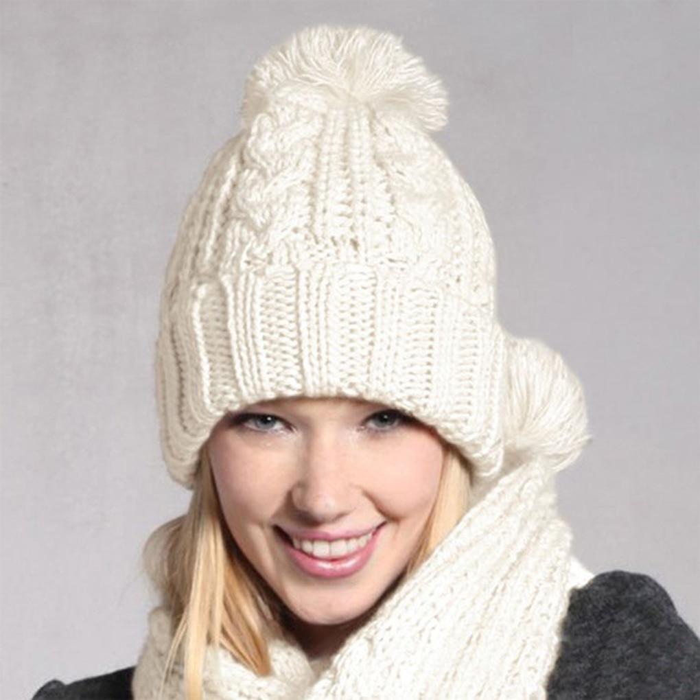 2Pcs/set Autumn Knitted Beanies Hats Scarf Set Women Winter Skullies Solid Color Warm Knit Ski Pom Pom Cap