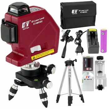 KaiTian 3D Laser Level Tripod Self Leveling 360 Cross Horizontal&Vertical Super Powerful Precision Red 12 Lines Lasers Receivers