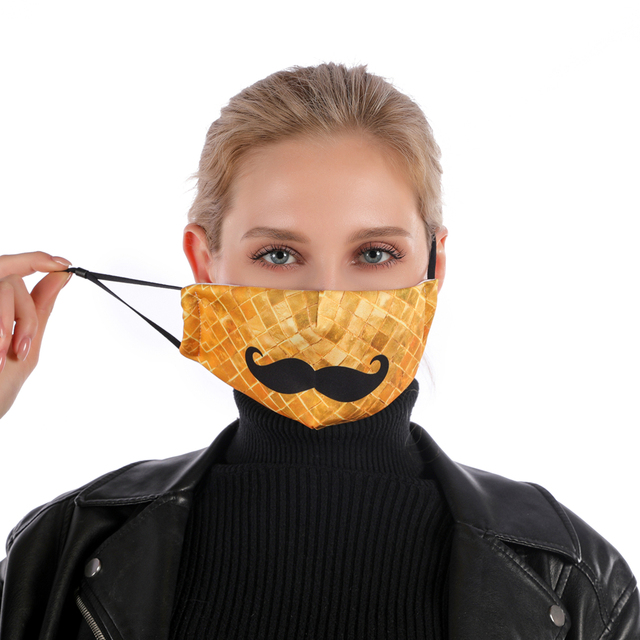 Zohra Moustache Printing Reusable Protective PM2.5 Filter mouth Mask anti dust Face mask bacteria proof Flu Mask 2