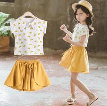 Children Suit Summer Girls Clothes Cartoon Short Sleeve Shirt Shorts Two-piece Clothing Set for Kids Girl 6 8 10 12 Years sodawn 2017 brother sister clothes summer new children clothse boysgirls lattice short sleeve shorts suit boy girls clothing set