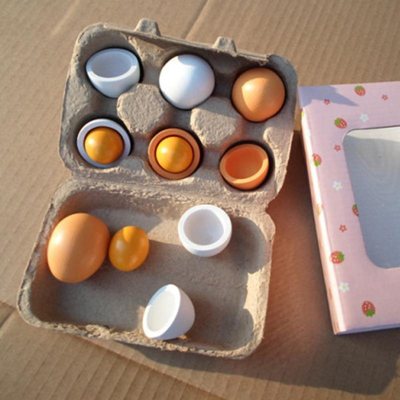 6PCS/Packet Kid Pretend Play Toy Set Wooden Eggs Yolk Kitchen Food Children Baby Pretend Play Preschool Educational Toy Gift