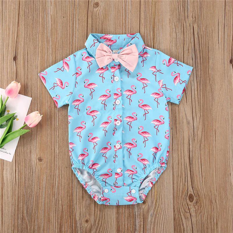 2020 bebek yaz giyim bebek çocuk erkek beyefendi Romper tulum pamuk kıyafetler Set hayvan ananas baskı elbise 4 renk