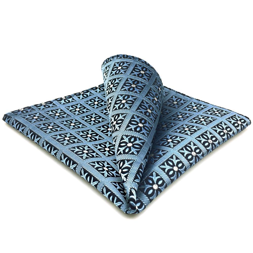 EH3 Blue Checkes Pocket Square Fashion Classic Handkerchief Hanky