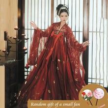Rot Hanfu Kleid Folk Dance Kostüm Chinesischen Traditionellen Nationalen Fee Kostüm Alte Han dynastie Prinzessin Bühne Outfits SL1719