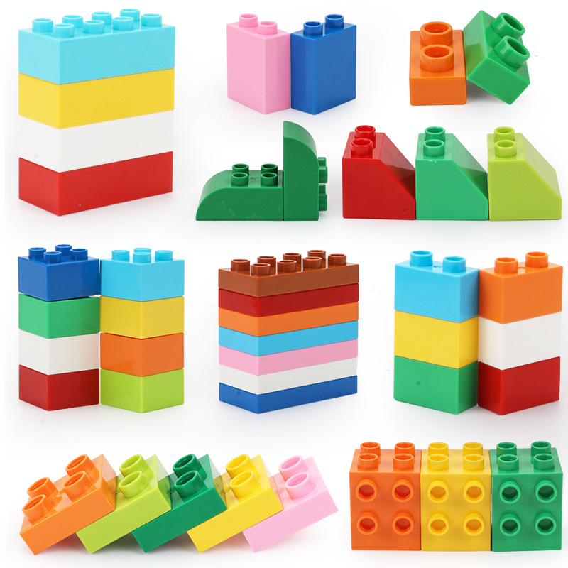 Big Bricks Baseplates Bloques Baby Early Learning DIY Building Blocks 2x4 Construction Toys Bulk Legoed Duplo For Kids 2x2