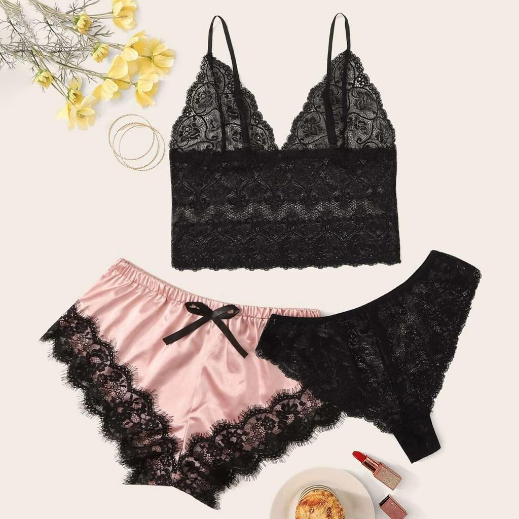 New Porno Women Sexy Lingerie exotic apparel Lace Silk Underwear Satin