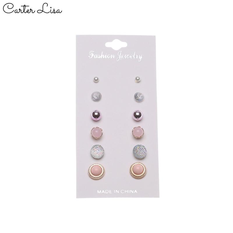 CARTER LISA 12 Pcs/set Transparent Ball Vintage Stud Earrings Set  Imitation Pearl Earrings For Women Gift Jewelry SEEA-S-35005