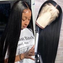 Pelucas de cabello humano con encaje Frontal 13x4 para mujer, 28 y 30 pulgadas, malayo, liso, prearrancado