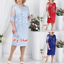 BacklakeGirls Lace Elegant Mother Evening Party Dress Plus Size 4XL 5XL Satin Midi Mother Of Bride Dress For Weddings Robe Femme(China)