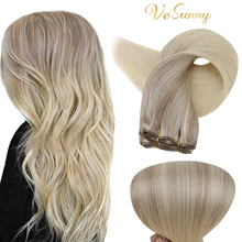VeSunny Straight Weave Bundles Balayage Blonde Remy Human Hair Weave Extensions Weft