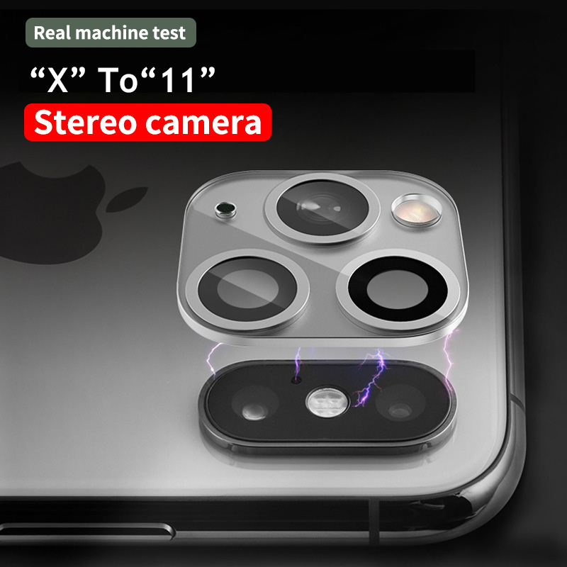Image 5 - 3D Fake Rear Camera Lens Sticker For iPhone X XS Max Seconds Change To 11 Pro Max XR Modified iPhone11 Metal Back Protector Film on