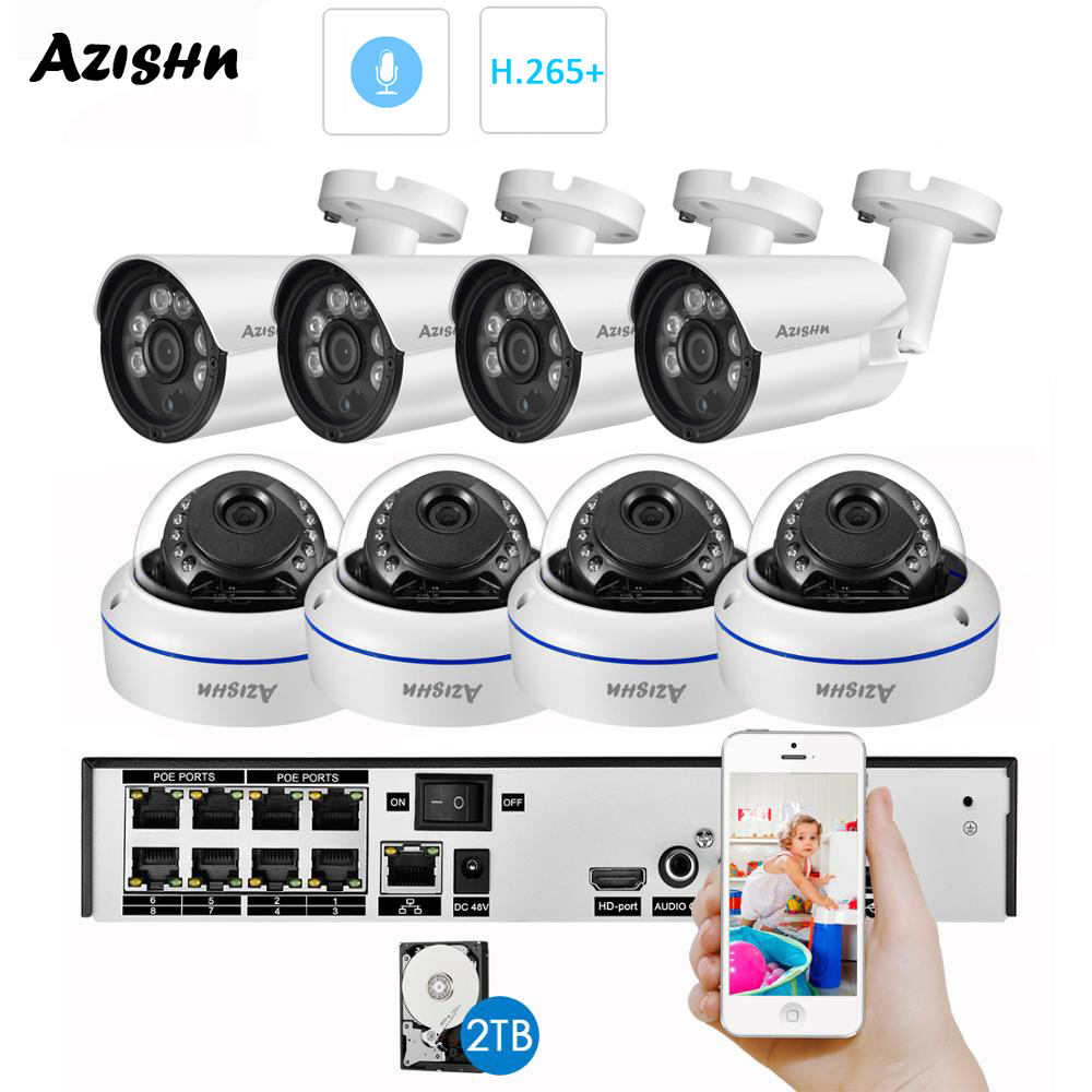 AZISHN H 265  8CH 3MP HDMI POE NVR Kit CCTV System 3MP Metal Indoor Outdoor Audio Dome IP Camera Video Security Surveillance Set