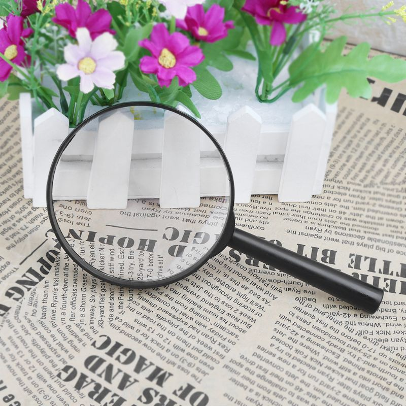 90mm Handheld Magnifier 5X Reading Map Newspaper Magnifying Glass Jewelry Loupe L69A