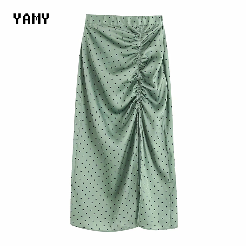 New Mid-calf Length Womens Green Skirt High Waist Side Split Womens Midi Skirt Zora Vicky Satin Skirts Womens Chic Bottom Skirt