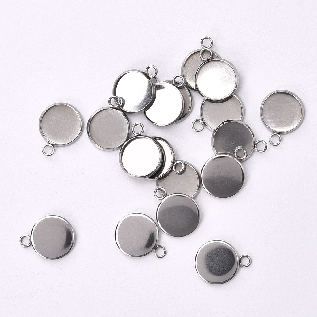 50pcs/Lot 8mm 10mm 12mm Round Stainless Steel Pendant Cabochon Setting Bezel Jewelry Making Component Base
