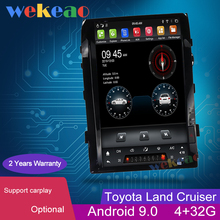 Wekeaoหน้าจอแนวตั้งTeslaสไตล์16 Android 9.0วิทยุนำทางGPSสำหรับToyota Land CruiserรถDVD Player 2008 2015