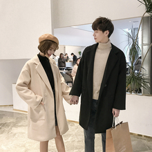 Winter Lambskin Woolen Coat Men Warm Fashion Overcoat Solid Color British Wind Man Wild Loose Long Jacket Windbreaker