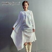 TWOTWINSTYLE-vestido de Otoño de manga larga para mujer, vestido informal fruncido Irregular, cuello redondo