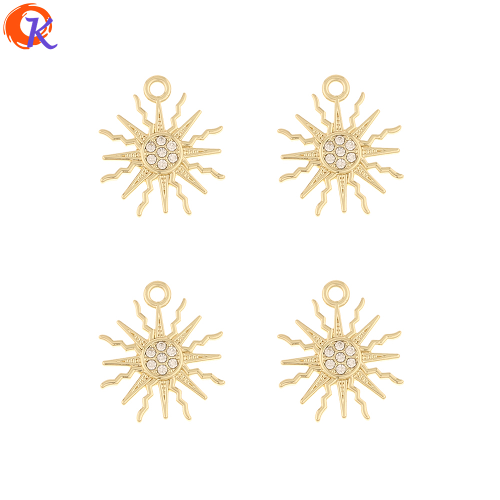 Cordial Design 100Pcs 17*19MM Jewelry Accessories/DIY Making/Rhinestone Charms/Flower Shape/Hand Made/Earring Findings/Pendant