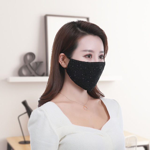 Women Adjustable Solid Color Masks 1pcs Summer Fashion Breathable Sequin Ice Silk Mouth Masks Mouth-muffle Face Cover 1