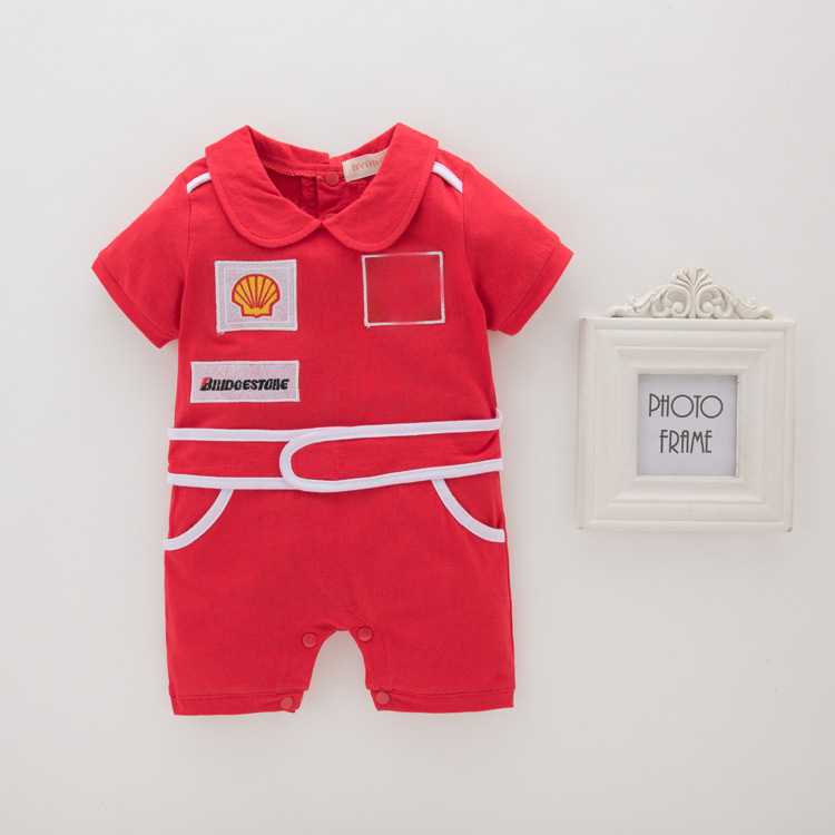 BOY'S Red Belt Grid Short Sleeve Onesie Romper