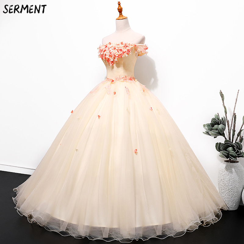 SERMENT European and American   Prom     Dress   2019 New Summer Gradient Slim Slimming Performance One Word Shoulder   Dress   Supply