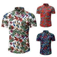 New Summer Big yards Mens Short Sleeve Beach Hawaiian Shirts Cotton Casual Floral Shirts Regular Plus Size Mens clothing Fashion(China)