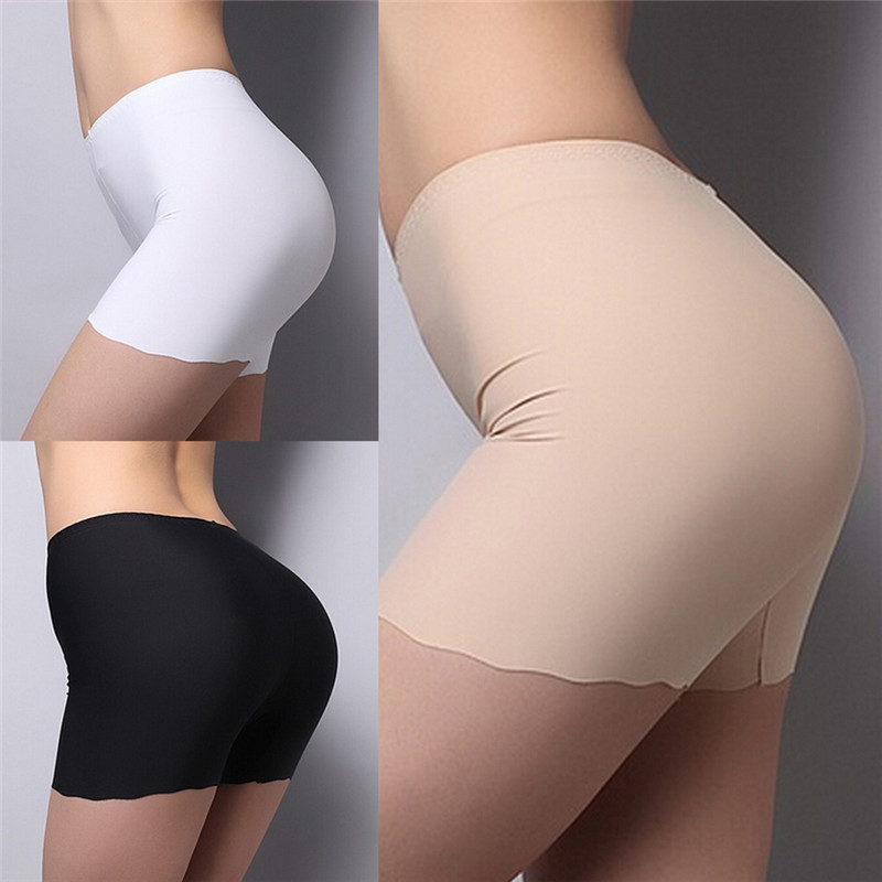1pc  Free Size 3 Colors Summer Underwear Shorts Sexy Silk Ice Pants White/Black/Nude Women Safety Short Pants  Gifts For Women