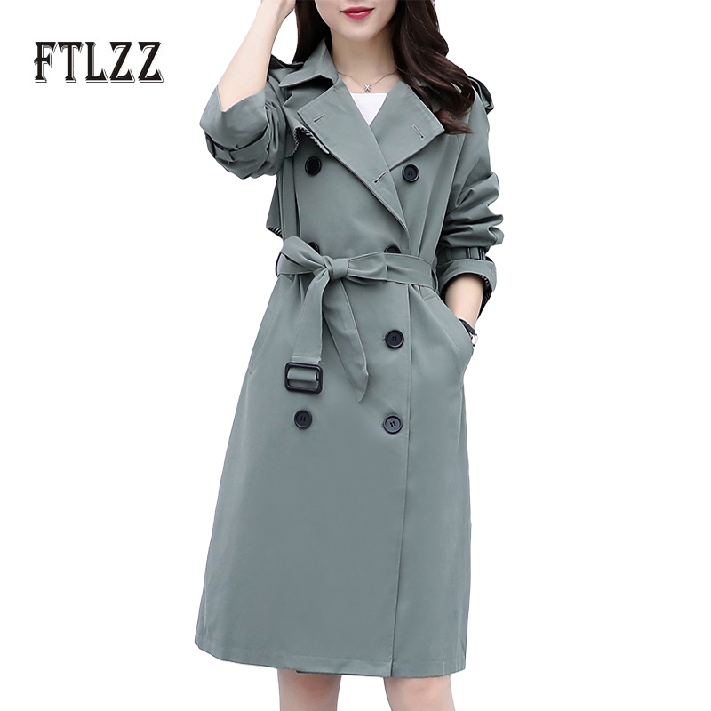 Fashion autumn outerwear women slim with belt korean medium long   trench   coat lady elegant Double-breasted plus size Windbreaker
