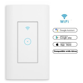 Us Smart Wifi Wall Light Switch 1 Gang Touch/wifi Remote Smart Home Wall Touch Switch Works For Alexa & Google IFTTT Control usa au wifi smart light wall touch switch interruptor touch 1 2 3 gang tuya ewelink app control wifi smart wall switch