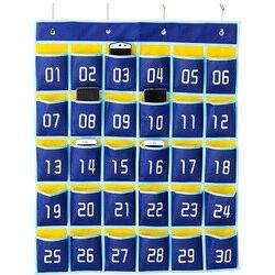 Łatwo ponumerowany Organizer z kieszonkami Organizer klasowy do telefonów komórkowych uchwyty na kalkulatory (30 kieszeni  niebieskie kieszenie) w Składane torby do przechowywania od Dom i ogród na