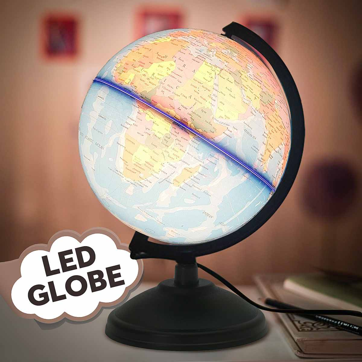 LED World Map Globe Home Electronic Lamp Novelty Ball Light Birthday Decoration Gift For Kids Children