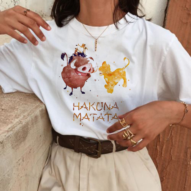 New Hakuna Matata Harajuku Funny Cartoon <font><b>T</b></font> <font><b>Shirt</b></font> <font><b>Women</b></font> <font><b>Lion</b></font> <font><b>King</b></font> Ullzang Kawaii <font><b>T</b></font>-<font><b>shirt</b></font> Cute 90s Tshirt Fashion Top Tees Female image