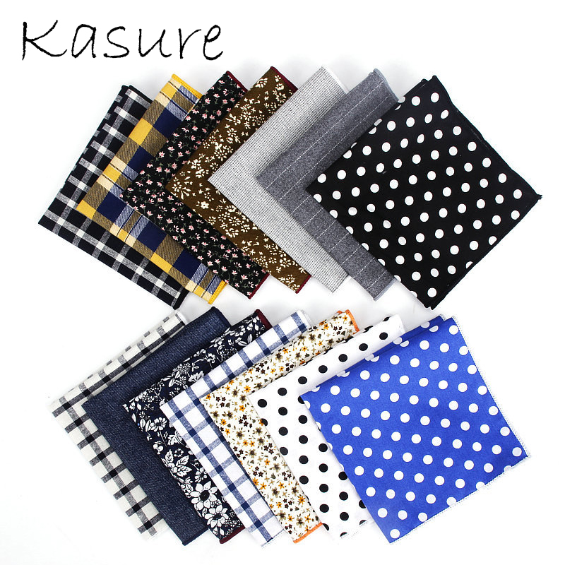 KASURE Dot Cotton Handkerchief Woven Colorful Floral Printing Square Pocket Casual Handkerchief Towels Hanky Gentlemen Hankies
