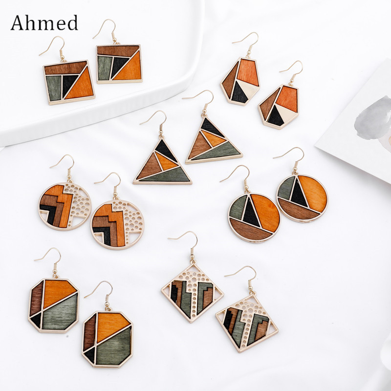 Ahmed Original Creative Minimalist Geometric Contrast Color Wood Pendant Earrings for Women Fashion Drop Dangle Jewelry Gifts
