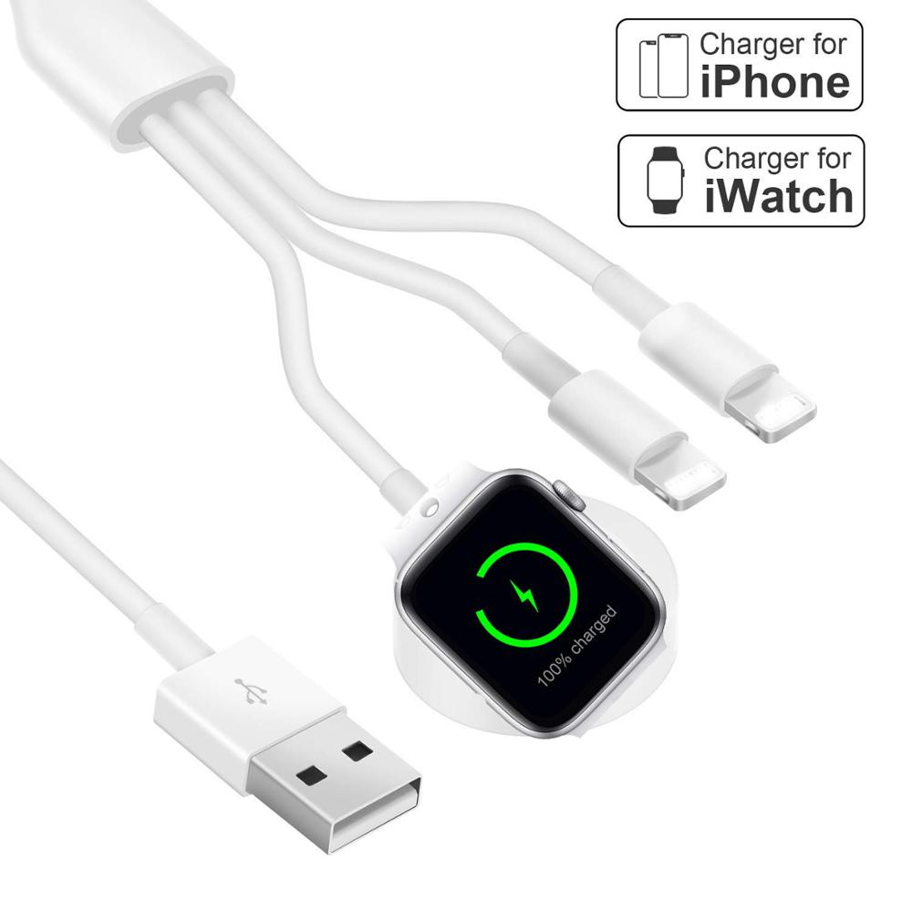 <font><b>3</b></font> <font><b>in</b></font> <font><b>1</b></font> Wireless Charger for Apple Watch <font><b>1</b></font> 2 <font><b>3</b></font> 4 Quick Charger USB <font><b>Cable</b></font> for iPhone X XR XS 11 Por MAX 8 Plus iPod USB Data <font><b>Cable</b></font> image