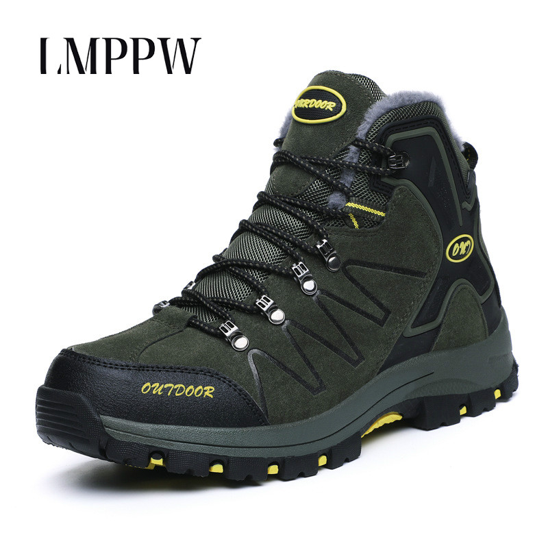 Winter 2019 Men's Outdoor Shoes Non-slip Wearable Plush Keep Warm Men Casual Shoes Comfortable Lace Up Male Sneakers Top Quality