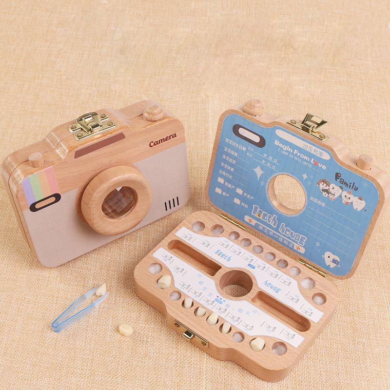 Children Camera Shape Tooth Box Teeth Storage Box Wooden Organizer Case For Baby Save Milk Teeth Great Gifts For Kids