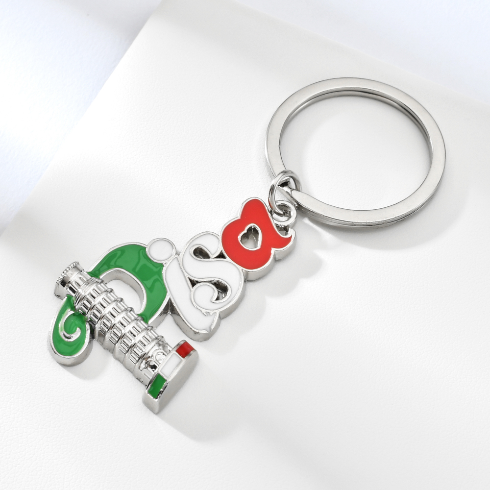 Italy Pisa Keychain Keyholder For Key High Quality Zinc Alloy Key Chain Fashion Jewelry Bag Charm Keyring Italy Souvenir Keyring