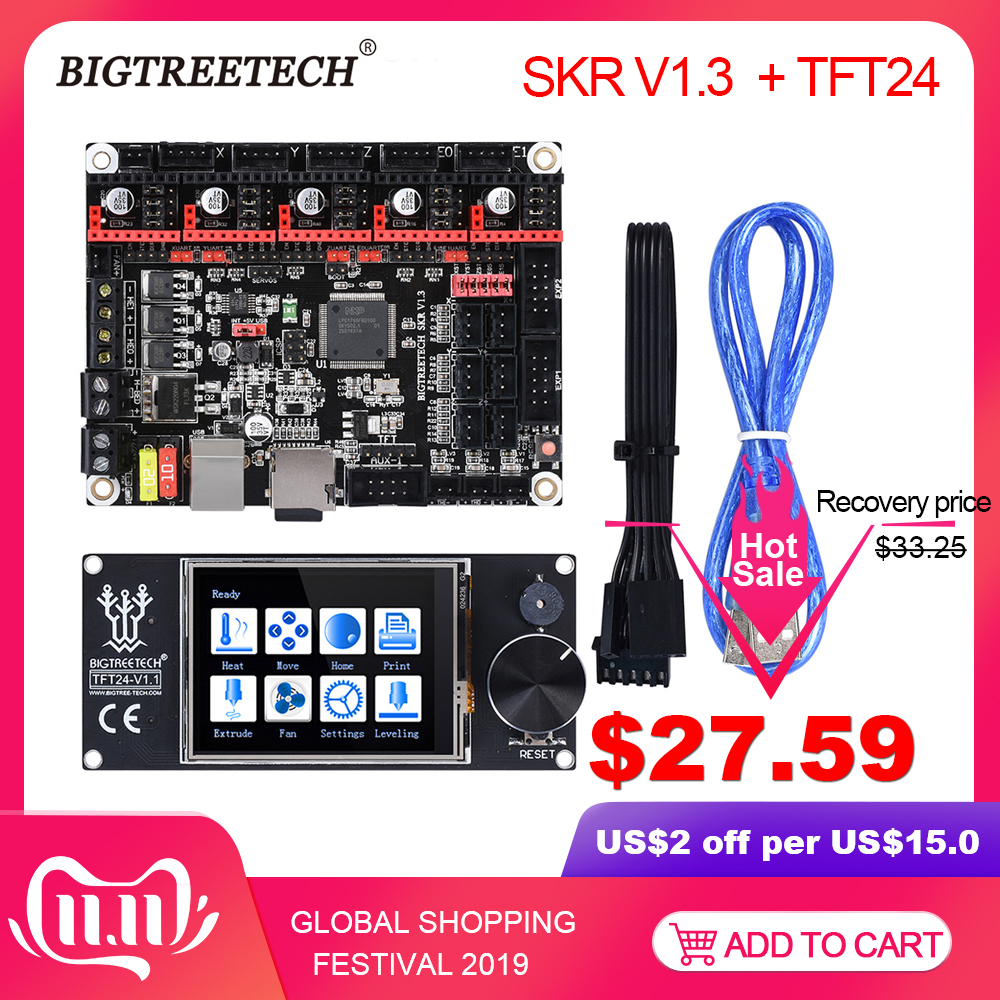BIGTREETECH SKR V1.3 ARM 32 Bit Controller Board Smoothieboard With TFT24 TMC2208 TMC2130 SPI VS MKS Gen For Ender 3 PRo