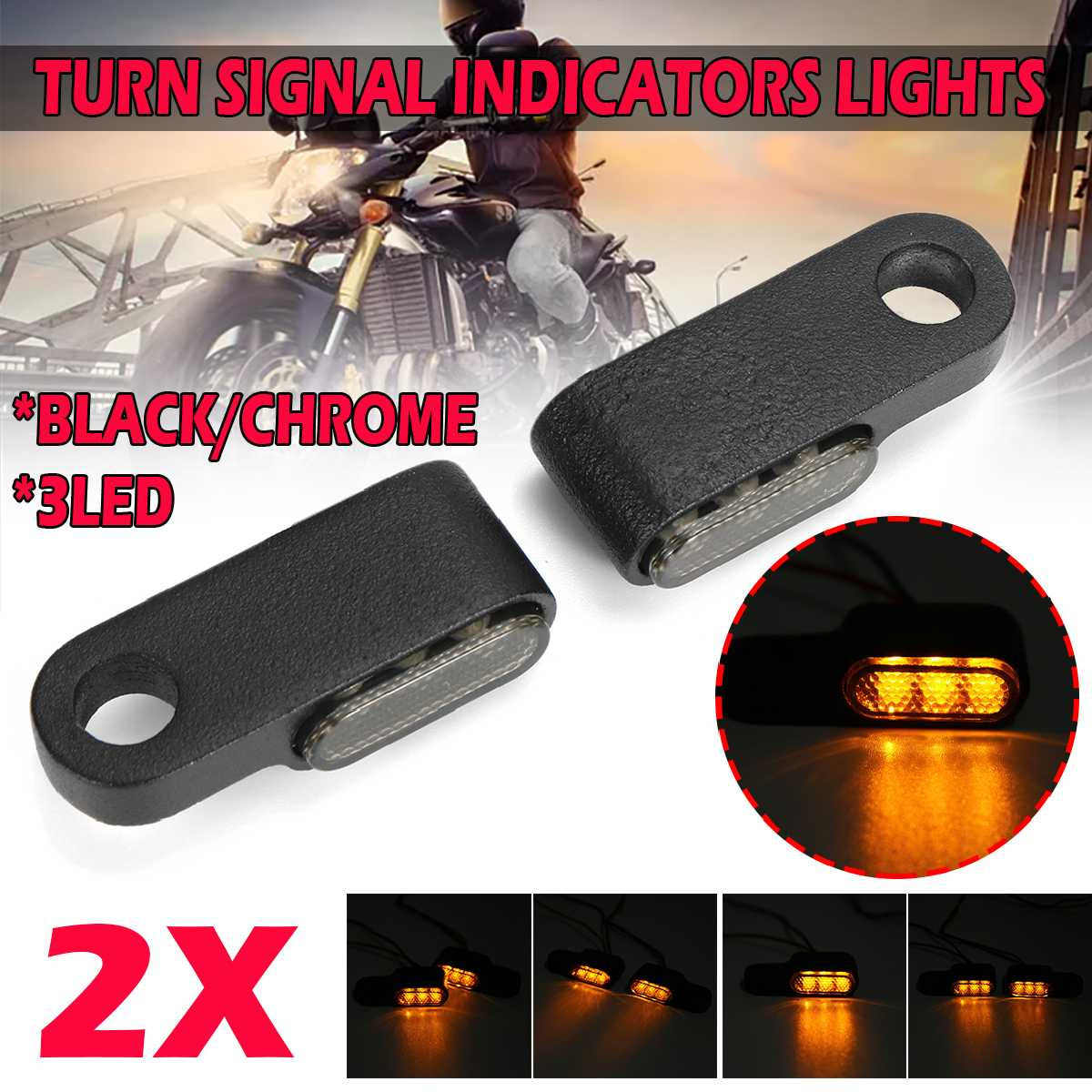 Pair 12V Motorcycle Indicators LED Turn Signal Light Handlebar Amber signal lamp Blinker Aluminum Alloy Black Chorme